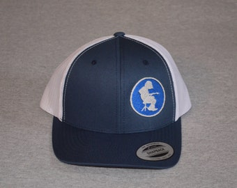 52aae79ff3e Widespread Panic --Michael Houser Silhouette on a Navy Blue   White Mesh  color Yupoong Trucker Hat ----FREE Shipping----