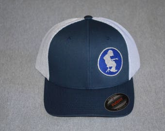 Widespread Panic-- Michael Houser Silhouette -- on a Navy Blue   White Mesh  Flex Fit