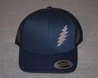 2cf88190b25bf Grateful Dead -- Lightning Bolt - on a Navy Blue  Navy Mesh color Yupoong  Trucker Hat ----FREE Shipping----
