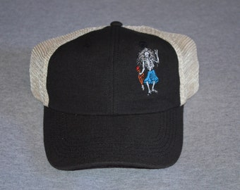 5a022807 Grateful Dead - Garcia Guitar - Rosebud - In the Left Panel - Black /  Oyster Mesh Econscious Brand Trucker hat --- FREE Shipping -
