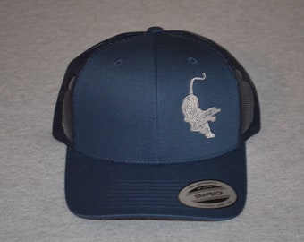e47374eff9b45 Grateful Dead -- Jerry Garcia s Guitar -Tiger - on a Navy Blue  Navy Mesh  color Yupoong Trucker Hat ----FREE Shipping----