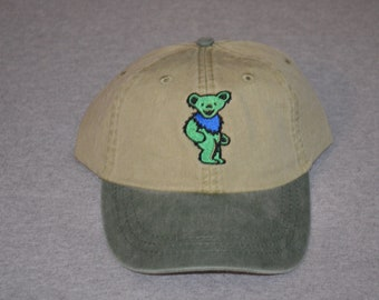 d7e9e9c0bb955 Grateful Dead - Centered Dancing Owsley Bear-on Spruce Green Visor   Khaki  Color Adams Brand Twill Unstructured Baseball hat-- FREE Shipping