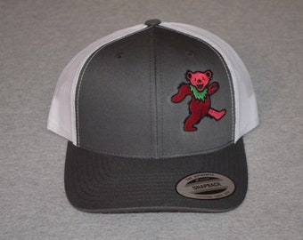 d7f0e07c61f53 Grateful Dead -- Owsley Dancing Bear on a Charcoal Gray  White Mesh color  Yupoong Trucker Hat ----FREE Shipping----