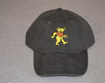 4eb1422d8e42a Grateful Dead - Centered Dancing Owsley Bear-- on a Black Color Adams Brand  Twill Unstructured Baseball hat --- FREE Shipping ---