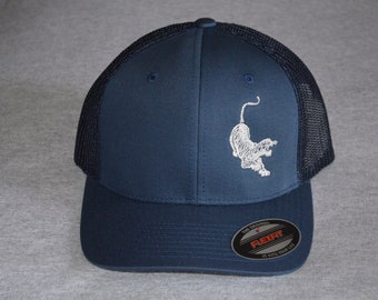 Jerry Garcia s Guitars -- Tiger Logo -- Grateful Dead --on a Navy Blue    Navy Blue Mesh Flex Fit