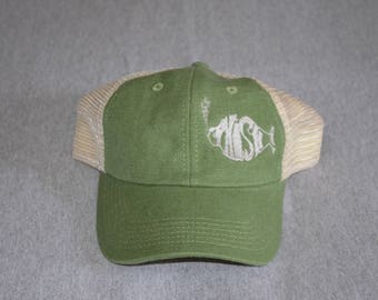 PHISH -- Single Color on a Hemp Fabric Olive Green Panel and Oyster color Trucker  Hat Trey --GameHenge ---FREE Shipping--- 78b96a86fe11