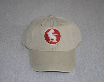 2ad4575df01 Michael Houser Silhouette -- Brick Red   Silver-- Centered On a Stone Color  Adams Brand Unstructured Baseball hat --- FREE Shipping ---
