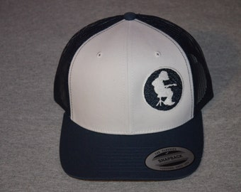ca4f4666d Widespread Panic-- Michael Houser Silhouette -- on a White Front Panel / Navy  Mesh Snap Back Trucker Hat ---Free Shipping---