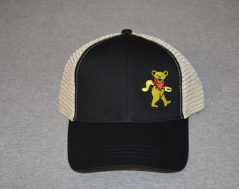 c4198bcf21321 Grateful Dead -- Owsley Dancing Bear on a Black  Oyster Mesh color  Econscious Brand Trucker Hat ----FREE Shipping----