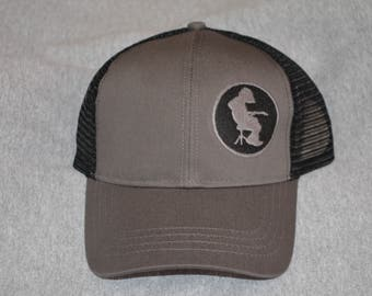 Widespread Panic --Michael Houser Silhouette on a Charcoal and Black color Trucker  Hat ----FREE Shipping---- b0d7db672a8a