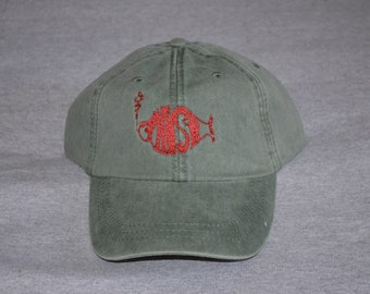 PHISH -- Single Brick Red Color Logo -- Center On a Spruce Green Color  Adams Brand Twill Unstructured Baseball hat --- FREE Shipping --- 3270cf9ded7b