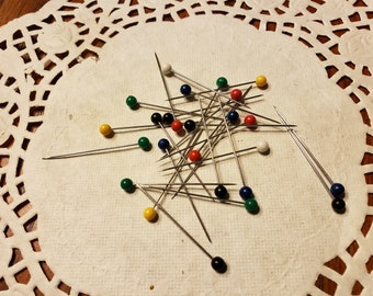 Stainless Steel Pins #31 - 1 1/2 inches long - Set of 5 - Art Glitter Glue pin - Stainless Steel Colored Ball Pins