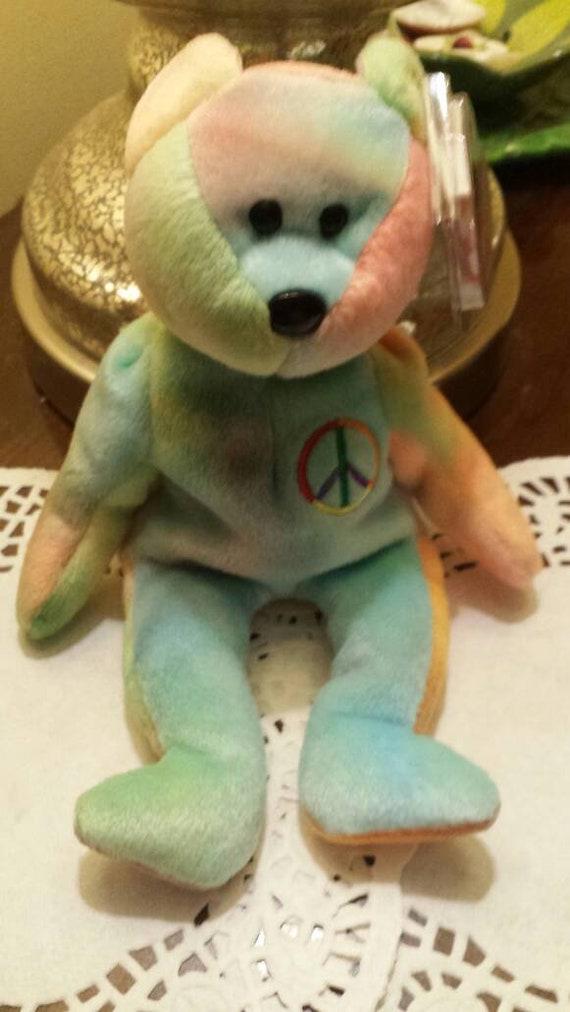 1b26056675ba7d Peace Bear Ty Beanie Baby Rainbow Head Bear Embroidered Peace | Etsy