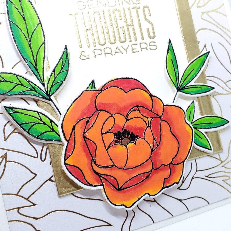 elegant floral sympathy card prayers card handmade sympathy card loss card sorry for your loss card Thoughts and prayers sympathy card