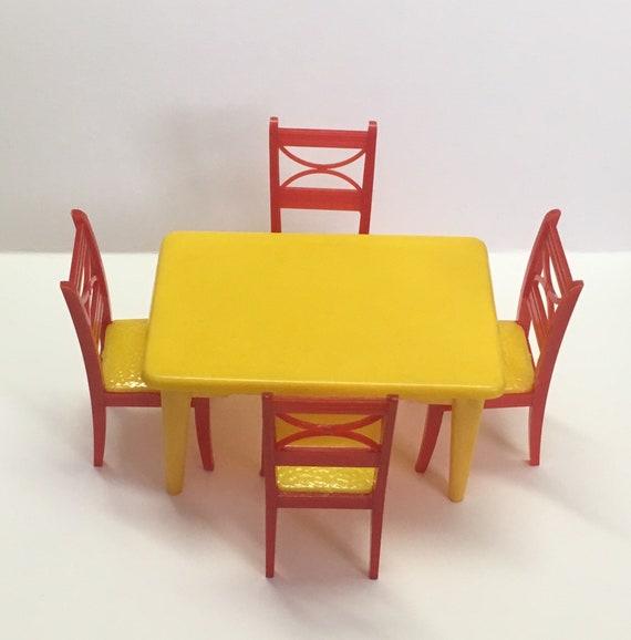 Yellow Kitchen Table Chair Set Vintage Dollhouse Furniture Etsy