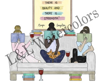 Friends and Books Print - digital download