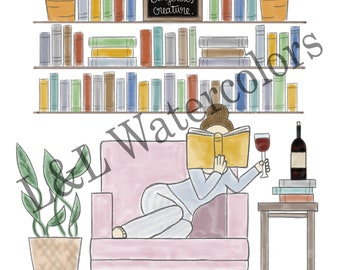 Well Read Red - Haired Girl Print - digital download