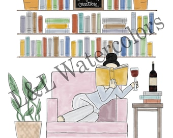 Well Read Black - Haired Girl Print - digital download