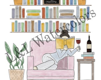 Well Read Brown - Haired Girl Print - digital download
