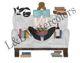 Red - Haired Girl Reading Print - digital download