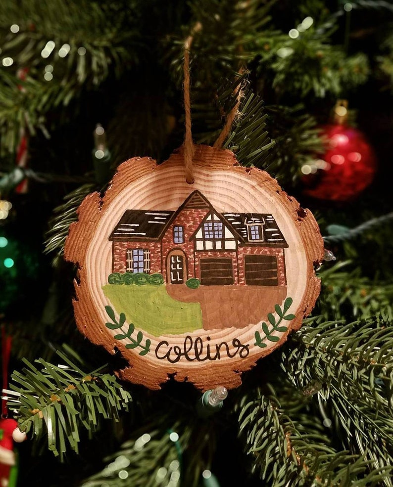 Custom Home Painted Wooden Holiday Ornament image 1