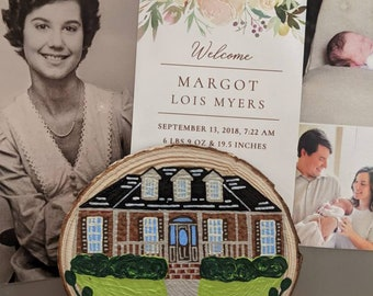 Custom Home Painted Wooden Magnet