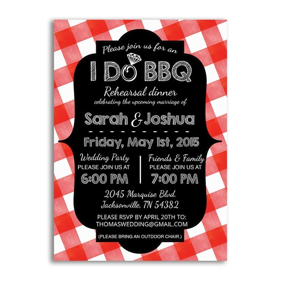 I Do BBQ Invitation Rehearsal Dinner Invites Bbq