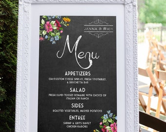 Menu Board, Wedding Menu, Indian Wedding Menu, Wedding Menu Sign, Wedding Menu Board, Wedding Menu Template, Menu Template, Chalkboard Menu