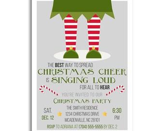 Christmas Invitations, Christmas Invitation, Elf Christmas Party Invitations, Holiday Party Invitations, Holiday Invitations, Xmas Party