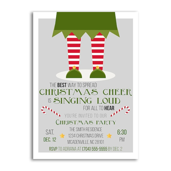 Christmas Invitations.Christmas Invitations Christmas Invitation Elf Christmas Party Invitations Holiday Party Invitations Holiday Invitations Xmas Party