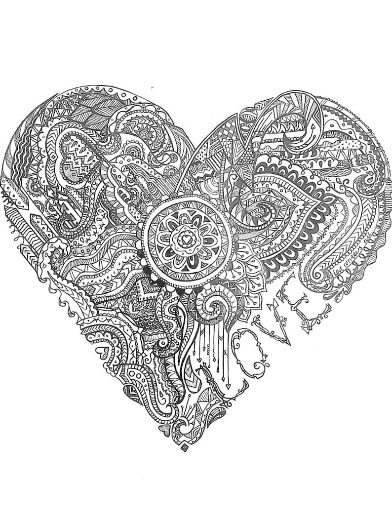 Doodle art love heart black and white pen drawing print etsy