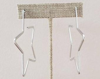 Silver Star Hoops Earring