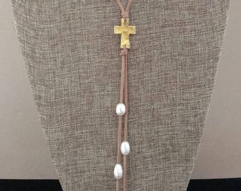 Leather and Pearl Gold Cross Long Lariat Necklace Freshwater Pearls and Faux Suede Leather