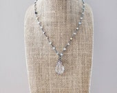 Glass Drop Stone Bead Amazonite Rosary Chain Necklace Layering