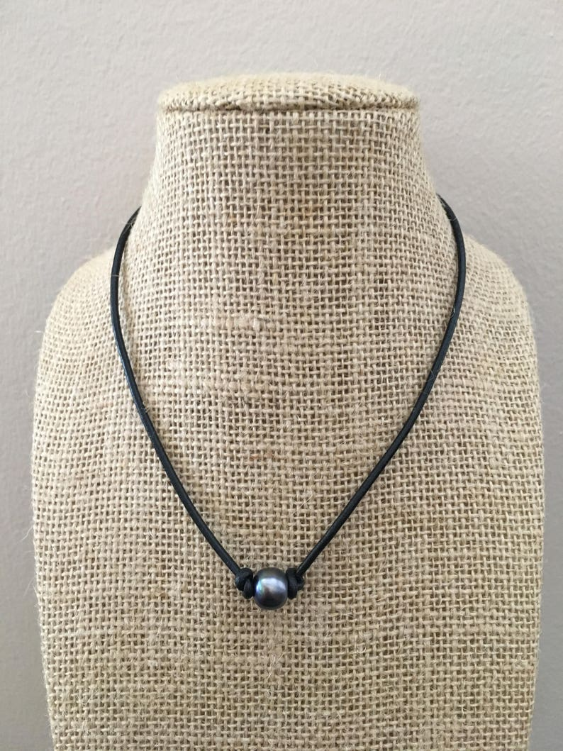 Black Pearl Leather Necklace Choker Knotted Handmade Vsco