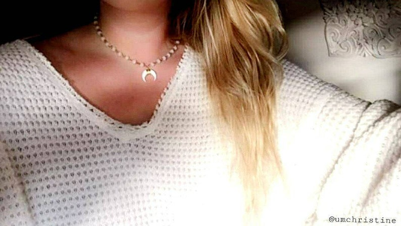 White Crescent Horn Necklace Choker Crystal Beaded Gold Chain Gift For Her