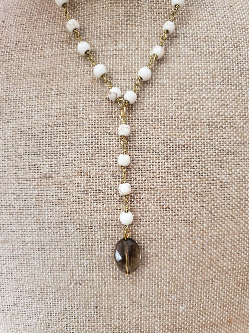 White Stone Beaded Lariat Glass Crystal Drop