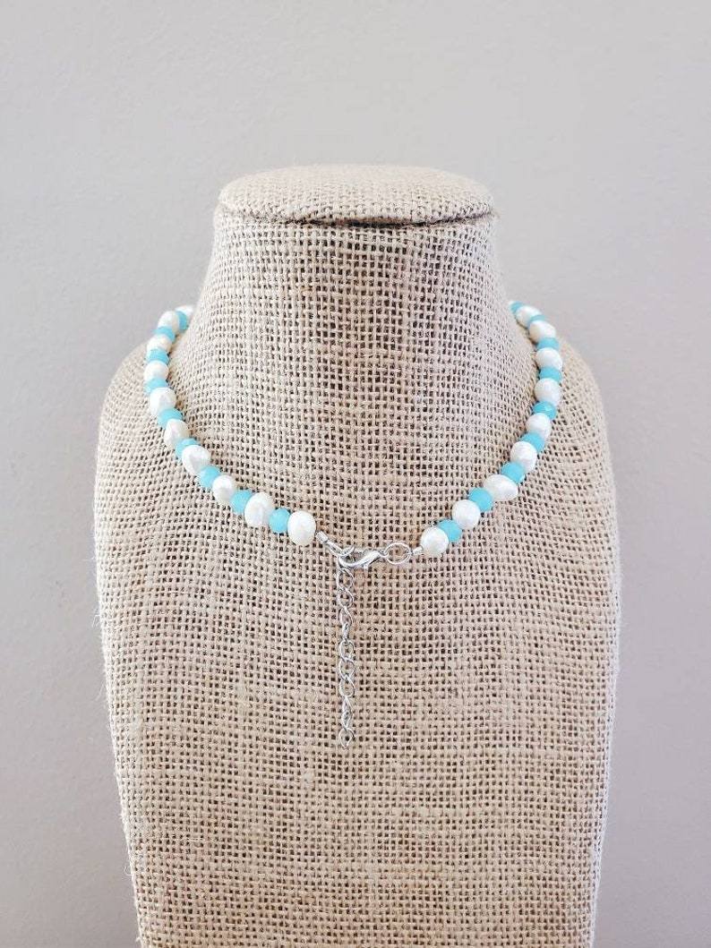 White Freshwater Pearl Necklace Light Blue Crystal Choker Beach