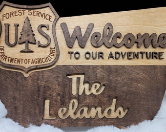 National Forest Service Welcome Sign- NFS inspired family name sign, custom layered laser cut laser engraved, outdoor, wilderness enthusiast