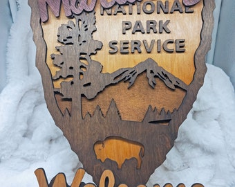 National Park Service Arrowhead - NPS inspired family name sign, custom layered laser cut laser engraved, outdoor, wilderness enthusiast