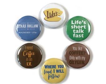 Netflix Gilmore Girls Luke's Series Quotes Fan Art 6 - 1 or 1.25 Inch Pinback Button Pin Badge Set