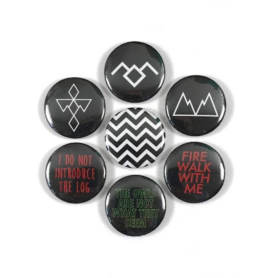 Twin Peaks Symbols Quotes Fan Art 7 Pinback Button Pin Etsy