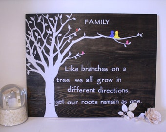 Wooden Wall Art - Family - Like Branches on  a Tree - Family Sign - Birds - Quotes - Customizable - Rustic - Nature