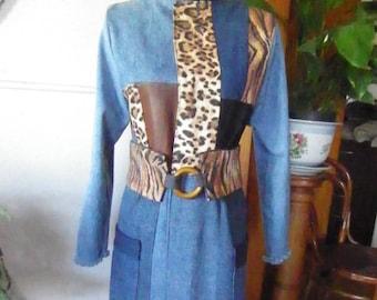 Fully lined, ankle-length denim coat