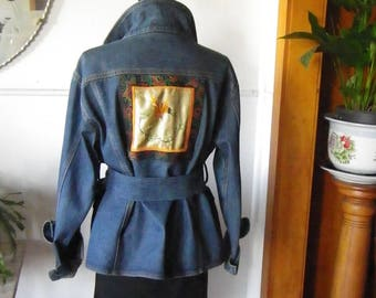 Denim jacket with satin embroidered panel