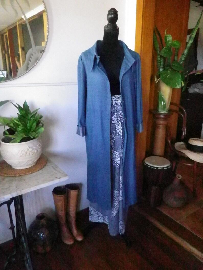 Soft draped light weight midi denim duster coat