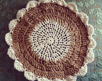 Crochet Tablemat in natural tones