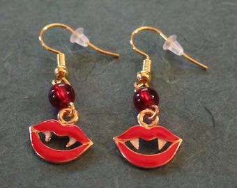 Red Enamel Vampire Teeth and Lips Bead Dangle Earrings