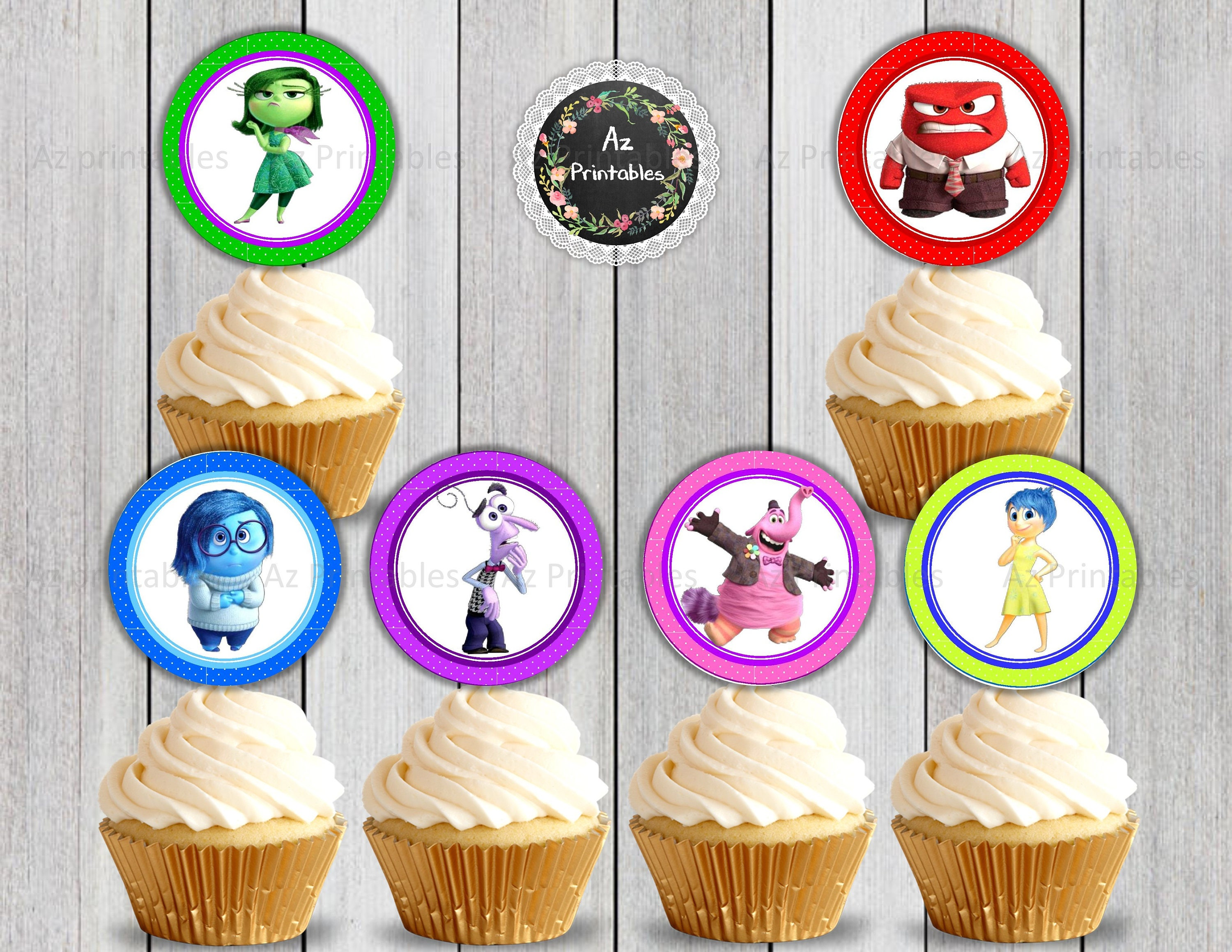 It's just an image of Accomplished Inside Out Cupcake Toppers