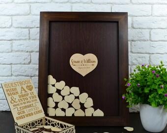 Wedding guest book, Alternative Guest book Drop Box Hearts, Wedding Book Guest, rustic guest book Wedding Wishes Drop Box